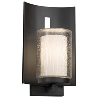 Justice Design FSN-7591W-10-RBON-MBLK-LED1-700 Fusion LED 13 inch Outdoor Wall Sconce in 700 Lm LED Matte Black Ribbon
