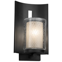 Justice Design FSN-7591W-10-WEVE-MBLK Fusion 1 Light 13 inch Outdoor Wall Sconce in Matte Black Weave Incandescent