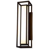 Justice Design FSN-7625W-OPAL-DBRZ Fusion LED 24 inch Dark Bronze Outdoor Wall Sconce, Rectangle
