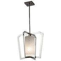 Justice Design FSN-8011-WEVE-CROM Fusion 1 Light 18 inch Chandelier Ceiling Light in Polished Chrome Weave Incandescent