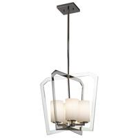 Justice Design FSN-8014-10-OPAL-CROM Fusion 4 Light 18 inch Chandelier Ceiling Light in Polished Chrome Opal Incandescent