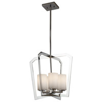 Justice Design FSN-8014-10-RBON-CROM Fusion 4 Light 18 inch Chandelier Ceiling Light in Polished Chrome, Ribbon, Incandescent thumb