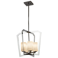 Justice Design FSN-8014-10-WEVE-CROM Fusion 4 Light 18 inch Chandelier Ceiling Light thumb
