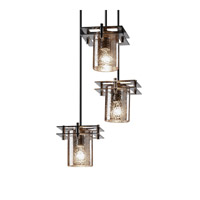Justice Design Metropolis 3 Light Pendant in Dark Bronze FSN-8166-10-MROR-DBRZ-BKCD