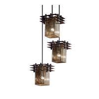 Justice Design Metropolis 3 Light Pendant in Dark Bronze FSN-8168-15-MROR-DBRZ-BKCD
