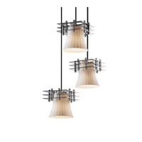 Justice Design Metropolis 3 Light Pendant in Polished Chrome FSN-8168-20-RBON-CROM-BKCD