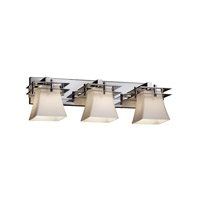 Metropolis 3 Light 27 inch Polished Chrome Vanity Light Wall Light in Opal, Square Flared