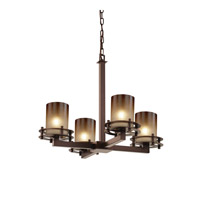 Justice Design FSN-8200-10-CRML-DBRZ Fusion 4 Light 25 inch Dark Bronze Chandelier Ceiling Light in Caramel, Cylinder with Flat Rim thumb