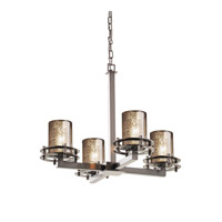 Justice Design FSN-8200-10-MROR-NCKL Fusion 4 Light 25 inch Brushed Nickel Chandelier Ceiling Light in Mercury Glass, Cylinder with Flat Rim thumb