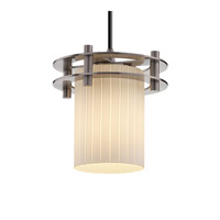 Justice Design Fusion 1 Light Pendant in Brushed Nickel FSN-8265-10-RBON-NCKL-BKCD