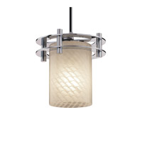 Justice Design Fusion 1 Light Pendant in Polished Chrome FSN-8265-10-WEVE-CROM-BKCD
