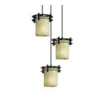 Justice Design Fusion 3 Light Pendant in Matte Black FSN-8266-10-DROP-MBLK-BKCD