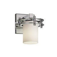 Fusion 1 Light 7 inch Polished Chrome Wall Sconce Wall Light in Opal, Cylinder with Flat Rim