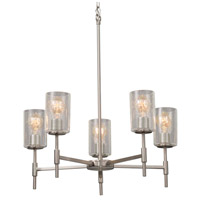 Justice Design FSN-8410-15-FRCR-CROM Fusion 5 Light 24 inch Polished Chrome Chandelier Ceiling Light in Square with Flat Rim, Incandescent, Frosted Crackle