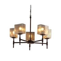 Justice Design FSN-8410-55-MROR-DBRZ Fusion 5 Light 23 inch Dark Bronze Chandelier Ceiling Light in Mercury Glass, Rectangle, Incandescent thumb