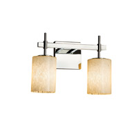 Justice Design FSN-8412-15-FRCR-NCKL Fusion 2 Light 13 inch Brushed Nickel Bath Bar Wall Light in Square with Flat Rim, Incandescent, Frosted Crackle