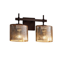 Fusion 2 Light 16 inch Dark Bronze Vanity Light Wall Light in Mercury Glass, Fluorescent, Oval