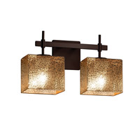 Fusion LED 15 inch Dark Bronze Vanity Light Wall Light in Mercury Glass, 1400 Lm 2 Light LED, Rectangle