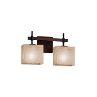 Fusion LED 15 inch Dark Bronze Vanity Light Wall Light in Weave, 1400 Lm 2 Light LED, Rectangle