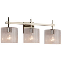 Justice Design FSN-8413-30-SEED-NCKL Fusion 3 Light 22 inch Brushed Nickel Bath Bar Wall Light in Oval Incandescent Seeded