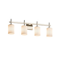 Fusion 4 Light 31 inch Brushed Nickel Vanity Light Wall Light in Opal, Fluorescent, Cylinder with Flat Rim