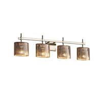 Fusion 4 Light 34 inch Brushed Nickel Vanity Light Wall Light in Mercury Glass, Fluorescent, Oval