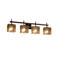 Fusion 4 Light 33 inch Dark Bronze Vanity Light Wall Light in Mercury Glass, Fluorescent, Rectangle