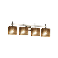 Fusion 4 Light 33 inch Brushed Nickel Vanity Light Wall Light in Mercury Glass, Fluorescent, Rectangle