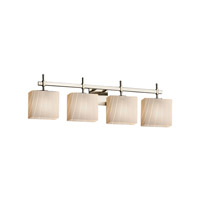 Fusion 4 Light 33 inch Brushed Nickel Vanity Light Wall Light in Ribbon, Fluorescent, Rectangle