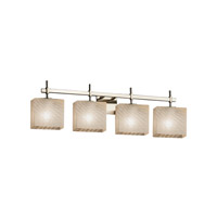 Fusion 4 Light 33 inch Brushed Nickel Vanity Light Wall Light in Weave, Fluorescent, Rectangle