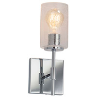 Justice Design FSN-8415-15-FRCR-CROM Fusion 1 Light 5 inch Polished Chrome Wall Sconce Wall Light in Square with Flat Rim, Incandescent, Frosted Crackle