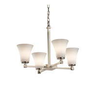 Fusion 5 Light 23 inch Brushed Nickel Chandelier Ceiling Light in Opal, Fluorescent, Round Flared