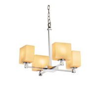 Justice Design FSN-8420-55-ALMD-CROM Fusion 5 Light 20 inch Polished Chrome Chandelier Ceiling Light in Almond, Fluorescent, Rectangle thumb