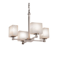 Justice Design FSN-8420-55-WEVE-NCKL-LED4-2800 Fusion LED 20 inch Brushed Nickel Chandelier Ceiling Light in Weave, 2800 Lm 4 Light LED, Rectangle thumb
