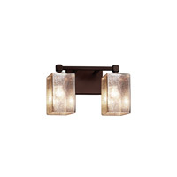 Justice Design FSN-8422-10-FRCR-DBRZ Fusion 2 Light 13 inch Dark Bronze Bath Bar Wall Light in Cylinder with Flat Rim, Incandescent, Frosted Crackle