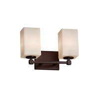 Fusion 2 Light 13 inch Dark Bronze Vanity Light Wall Light in Square with Flat Rim, Opal, Fluorescent