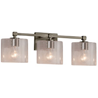 Justice Design FSN-8423-30-SEED-NCKL Fusion 3 Light 22 inch Brushed Nickel Bath Bar Wall Light in Oval Incandescent Seeded