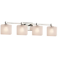 Justice Design FSN-8424-15-FRCR-CROM Fusion 4 Light 31 inch Polished Chrome Bath Bar Wall Light in Square with Flat Rim, Incandescent, Frosted Crackle