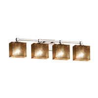 Fusion 4 Light 33 inch Brushed Nickel Vanity Light Wall Light in Rectangle, Mercury Glass, Fluorescent