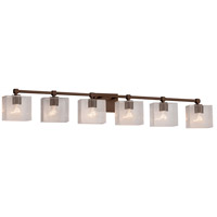 Justice Design FSN-8426-55-SEED-DBRZ Fusion 6 Light 49 inch Dark Bronze Bath Bar Wall Light in Rectangle Incandescent Seeded