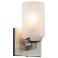 Justice Design FSN-8431-15-FRCR-CROM Fusion 1 Light 5 inch Polished Chrome Wall Sconce Wall Light in Square with Flat Rim, Incandescent, Frosted Crackle