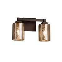 Fusion 2 Light 13 inch Dark Bronze Vanity Light Wall Light in Cylinder with Flat Rim, Mercury Glass, Fluorescent