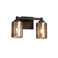 Justice Design FSN-8432-10-FRCR-DBRZ Fusion 2 Light 13 inch Dark Bronze Bath Bar Wall Light in Cylinder with Flat Rim, Incandescent, Frosted Crackle