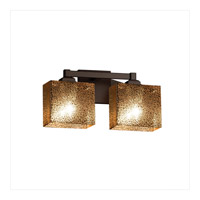 Fusion 2 Light 15 inch Dark Bronze Vanity Light Wall Light in Rectangle, Mercury Glass, Fluorescent