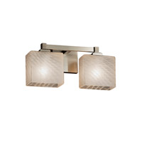Fusion 2 Light 15 inch Brushed Nickel Vanity Light Wall Light in Rectangle, Weave, Fluorescent