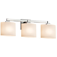 Justice Design FSN-8433-30-OPAL-CROM Fusion 3 Light 25 inch Polished Chrome Bath Bar Wall Light in Opal Oval Incandescent Oval