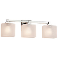 Justice Design FSN-8433-15-FRCR-DBRZ Fusion 3 Light 22 inch Dark Bronze Bath Bar Wall Light in Square with Flat Rim, Incandescent, Frosted Crackle