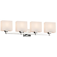 Justice Design FSN-8434-55-OPAL-CROM Fusion 4 Light 33 inch Polished Chrome Bath Bar Wall Light in Opal Rectangle Incandescent Rectangle