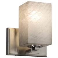 Justice Design FSN-8441-15-WEVE-NCKL Fusion 1 Light 7 inch Wall Sconce Wall Light in Brushed Nickel Weave Square with Flat Rim Incandescent