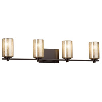 Fusion 4 Light 34 inch Vanity Light Wall Light in 6.75, Mercury Glass, Dark Bronze, Incandescent, Cylinder with Flat Rim
